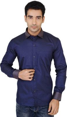 X-Secret Men's Printed Formal Dark Blue, Grey Shirt
