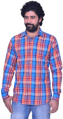 Snoby Men's Checkered Casual Blue Shirt