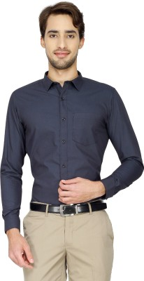 Cotton Power Men's Solid Formal Dark Blue Shirt