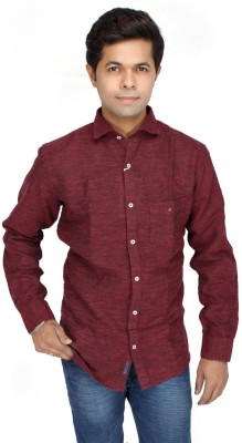 JG FORCEMAN Men's Solid Casual Maroon Shirt