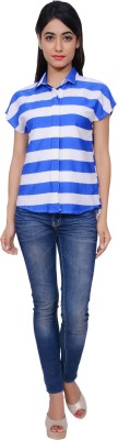 Juniper Women's Striped Casual White, Blue Shirt