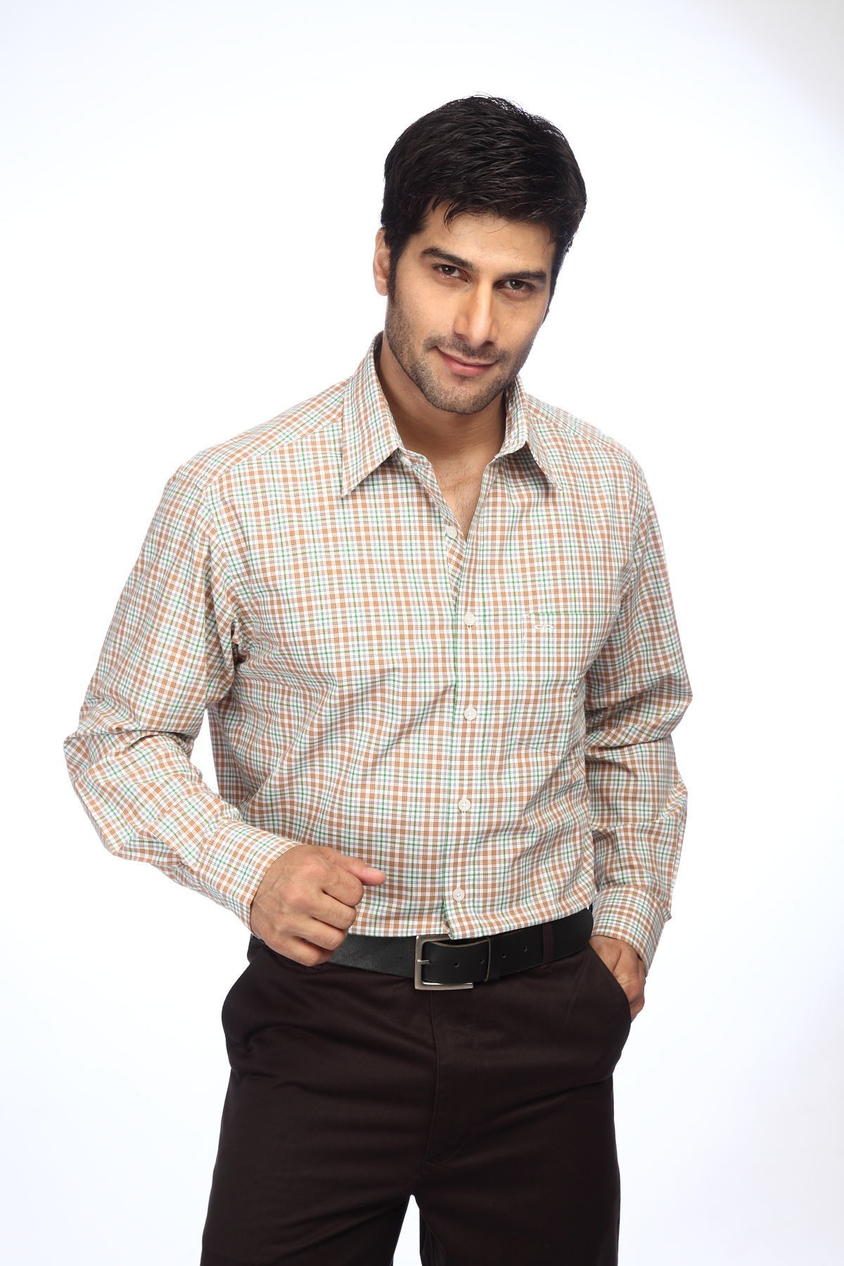 ColorPlus Mens Checkered Casual Brown Shirt