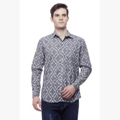 Akara Men's Geometric Print Casual Grey Shirt