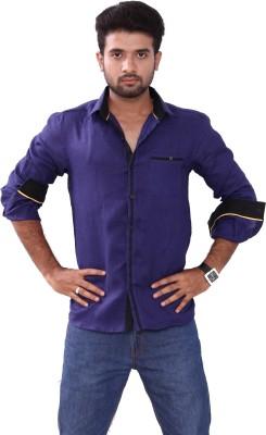 Bleu Men's Solid Casual Linen Blue Shirt