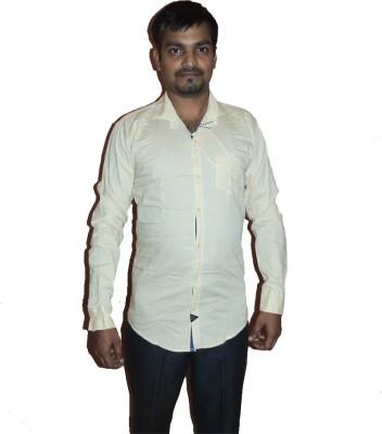 D Shape Men's Solid Casual Beige Shirt