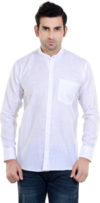 New Looks Men's Solid Casual Linen White Shirt