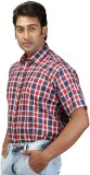 Relish Men's Checkered Formal Red Shirt