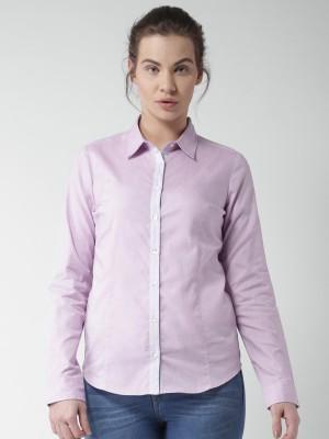 Mast & Harbour Women's Solid Casual Purple Shirt