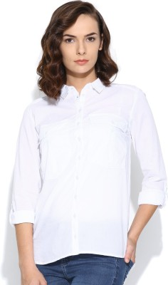 Silly People Women's Solid Casual White Shirt