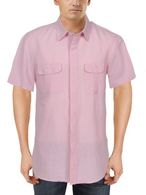 Roar and Growl Men,s Solid Casual Pink Shirt