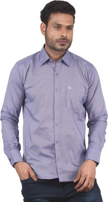 Tabard Men's Checkered Casual Purple Shirt