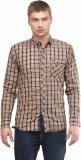 Sleek Line Men's Checkered Casual Yellow...