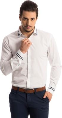 Specimen Men's Self Design, Striped Casual White Shirt