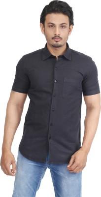Success Men's Solid Casual Linen Black Shirt