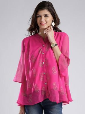 Anouk Women's Printed Casual Pink Shirt