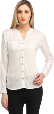 Cation Women's Solid Casual White Shirt