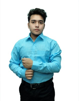 Fashion Tree Men's Solid Formal Blue Shirt