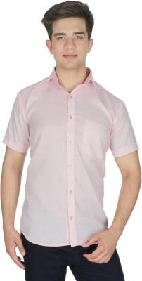 Shaurya-F Men's Solid Formal Linen Pink Shirt