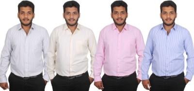 Maharaja Men's Striped Formal Blue, Pink, Yellow, Black Shirt