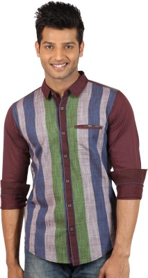 Le Tailor Men's Striped Casual Maroon, Green Shirt