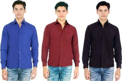 Atmosphere Men's Solid Casual Dark Blue, Maroon, Black Shirt