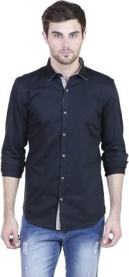 HASH LUXURY Men's Solid Casual Black Shirt