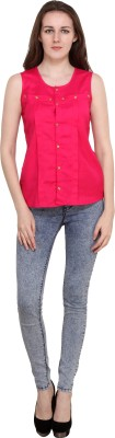 Annies Fab Women's Solid Casual Pink Shirt