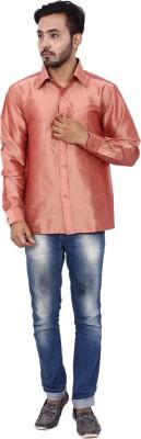 KENRICH Men's Solid Formal Orange Shirt