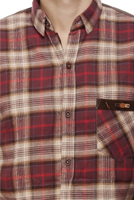 Jimmy And Jordan Men's Checkered Casual Brown Shirt