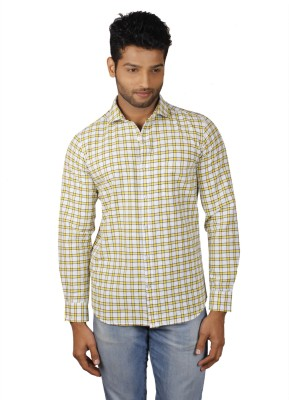 V Seven Men's Checkered Casual White, Yellow Shirt