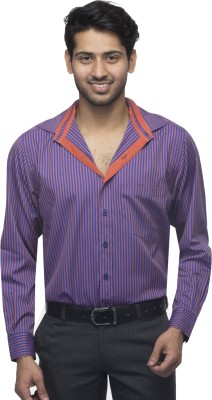 Menmark Men,s Striped Formal Blue, Orange Shirt