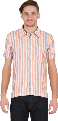 All Times Men's Striped Casual Linen Multicolor Shirt