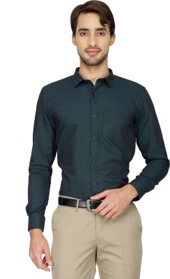 Cotton Power Men's Solid Formal Dark Green Shirt