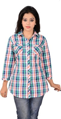 Jazzy Ben Women,s Checkered Casual Blue, White, Green Shirt