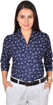 LGC Women's Printed Formal, Casual, Party, Lounge Wear Denim Blue Shirt