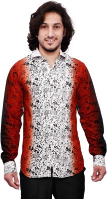 Dave Men's Floral Print Casual White, Black, Red Shirt