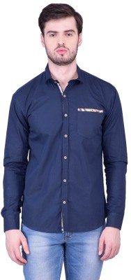 THE SHIRT FACTORY Men's Solid Casual Blue Shirt