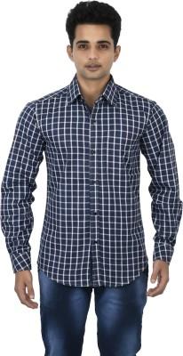 Binnote Men's Checkered Casual Dark Blue Shirt