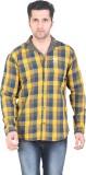 Meraki Men's Checkered Casual Yellow, Bl...