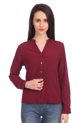 Madame Women's Solid Casual Maroon Shirt