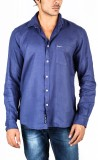 Pepe Men's Solid Casual Blue Shirt