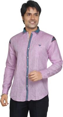 Funky Men's Printed Casual Linen Pink Shirt