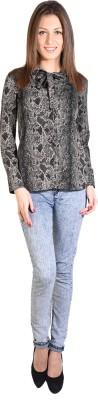 Oshea Women's Animal Print Casual Black Shirt