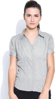 Colors Couture Women's Solid Formal Grey Shirt