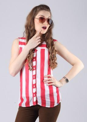Numero Uno Women's Striped Casual White, Red Shirt
