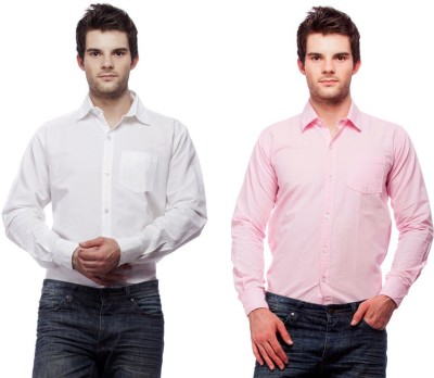 Fedrigo Men's Solid Casual White, Pink Shirt