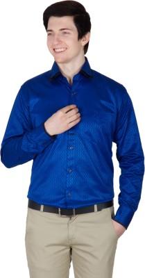 Robin Rider Men's Printed Casual Dark Blue Shirt