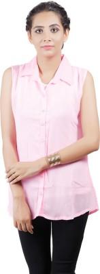 Asmara Women's Solid Casual Pink Shirt
