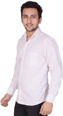 Rank Men's Polka Print Casual White Shirt