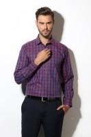 Van  Heusen Formal Shirts (Men's) - Van Heusen Men's Checkered Formal Purple Shirt